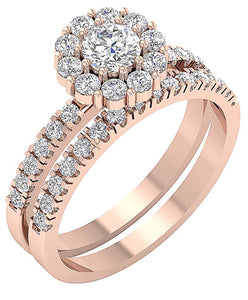 14k Rose Gold Designer Bridal Ring Set