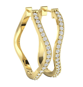14k Yellow Gold Unique Style Large Hoop Earring