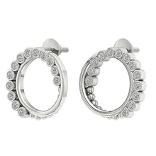 Load image into Gallery viewer, 14k White Gold Designer Medium Hoop Earring