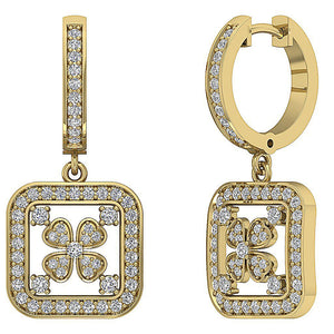 14k Solid Gold Genuine Diamond Earring Set