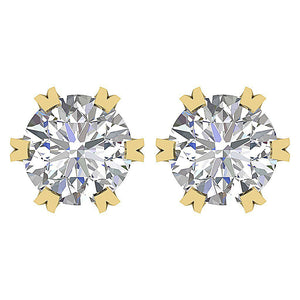 Genuine Diamond Earring 14k Yellow Gold