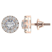 Load image into Gallery viewer, 14k Rose Gold Genuine Diamonds Earring