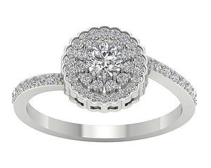 Accent With Double Halo Solitaire Round Cut Diamond Ring I1 G 0.85 Ct Prong Set Solid Gold 10.25MM