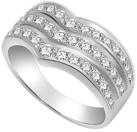 Right Hand Designer Anniversary Ring SI1 G 1.01 Ct Round Diamond 14k White Gold Prong Set 9.20MM