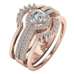 Halo Engagement Ring 14K Rose Gold Natural Diamond-CR-192