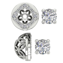 Load image into Gallery viewer, Designer Solitaire Studs 14k-18k White Gold Earring-DE170