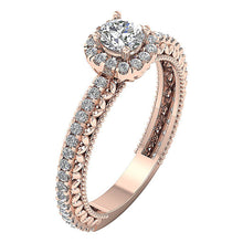 Load image into Gallery viewer, Solitaire Halo Engagement Ring 14K Gold Natural Round Diamond  I1 G 1.05 Ct