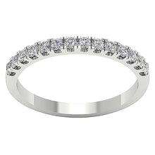 Load image into Gallery viewer, 14k White Yellow Rose Gold Petite Wedding Ring I1 G 0.45 Ct Natural Round Diamond Pave Set 2.20MM