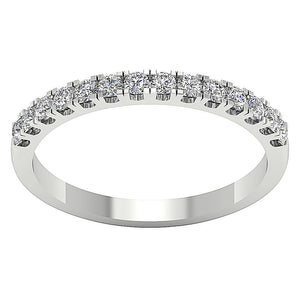 14k White Yellow Rose Gold Petite Wedding Ring I1 G 0.45 Ct Natural Round Diamond Pave Set 2.20MM