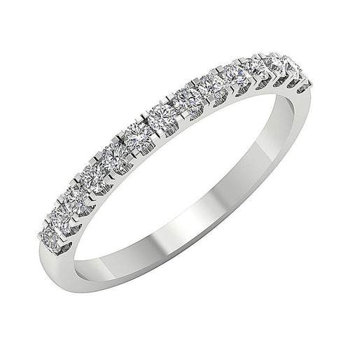 14k White Yellow Rose Gold Petite Wedding Ring SI1 G 0.45 Ct Natural Round Diamond Pave Set 2.20MM