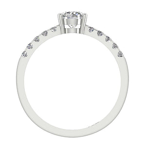 White Gold 14K Font View Solitaire  Diamond Ring Prong Setting-DSR131