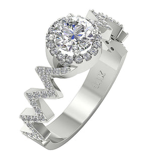 Side View Natural Diamond Engagement Ring Prong Set-SR-1147-1