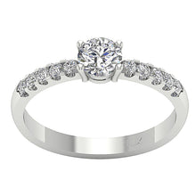 Load image into Gallery viewer, Accent With Solitaire Engagement Round Diamond Ring SI1 G 0.80 Ct 14k Solid Gold