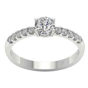 White Gold 14K Solitaire Engagement Ring-DSR131