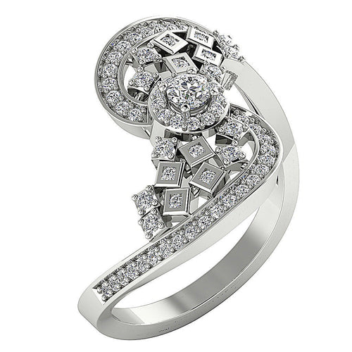 White Gold Designer Accent Solitaire Halo 14K Side View-DSR475