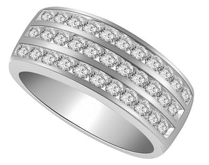 Right Hand Designer Engagement Ring Natural Diamond SI1 G 1.10 Ct 14k White Gold Pave Set 8.00MM