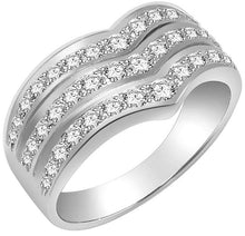 Load image into Gallery viewer, Right Hand Designer Anniversary Ring VS1 E 1.01 Ct Natural Diamond 14k White Gold Prong Set 9.20MM
