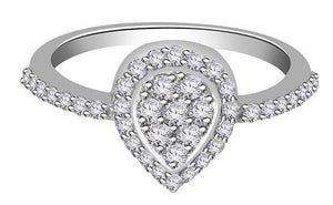 14K Solid Gold Genuine Diamond Ring Top View-RHR 140-3