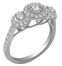 Load image into Gallery viewer, SI1 G 0.90Ct Designer Three Stone Wedding Ring Natural Diamond Prong Pave Set 14K White Gold 8.45MM