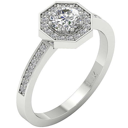 White Gold Side View 14K Round Diamond Ring-DSR232