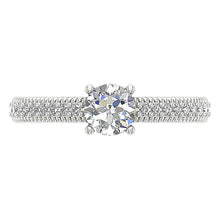 Load image into Gallery viewer, Top View Two Tone Gold 14K Solitaire Milgrain Ring-DSR481