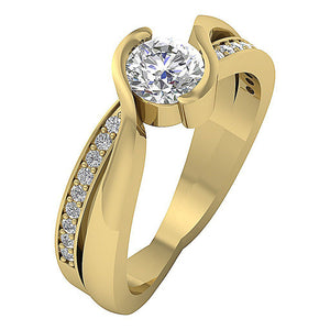 Solitaire Engagement Natural Diamond Ring 14K Solid Gold-DSR608-1