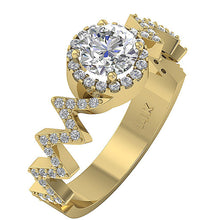 Load image into Gallery viewer, Yellow Gold Diamond Solitaire Ring Zig Zag-SR-1147-2