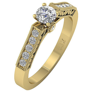 Yellow Gold 14K Side View Solitaire Ring Natural Diamond Ring Bezel Set-DSR199