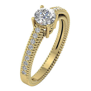 Accent Solitaire Engagement Round Cut Diamond Ring I1 G 1.00 Ct 14k Solid Gold