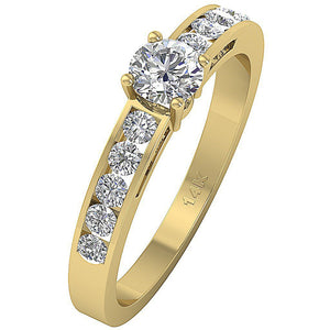 Yellow Gold Accent With Solitaire Ring-DSR62