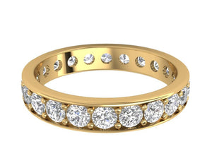 Natural Diamond Eternity Ring 2.20 ct 14k Gold Prong Set Stackable Band