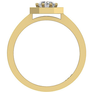 Yellow Gold Front View 14K Prong Setting-DSR232