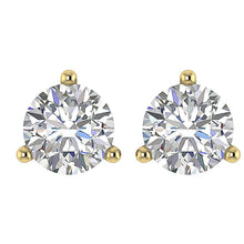 Load image into Gallery viewer, 14k/18k Yellow Gold Natural Diamonds Solitaire Studs Earrings SI1 G 0.65Ct Martini Prong Set 4.20MM
