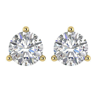 Yellow Gold Prong Setting Earring-DST53