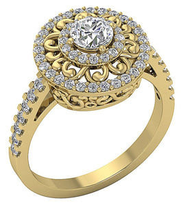 Yellow Gold Vintage Solitaire Ring-SR-927-2