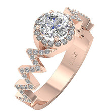 Load image into Gallery viewer, 14K Rose Gold Zig Zag Halo Solitaire Anniversary Diamond Ring-SR-1147-3