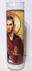 "St. Dave Gahan, 8"" glass jar votive candle, Reach Out and Touch Faith"