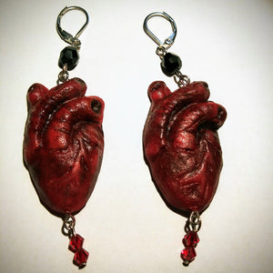 Anatomical Heart Earrings, Hand Sculpted and beaded