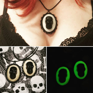 "Skull, Glow-in-the-Dark, pendant with 18"" Black Waxed Necklace Cord"