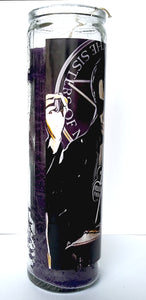 "St Andrew Eldritch, Goth, Sisters of Mercy 8"" glass jar Votive Candle"