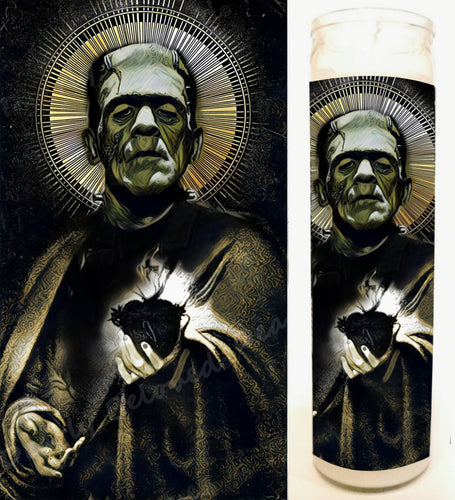 Frank's Monster, Frankenstein Altar Candle, Devotional 8' glass jar candle