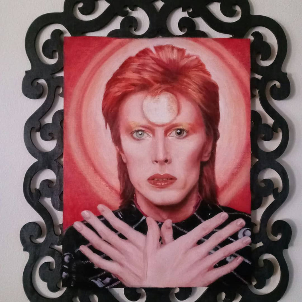 David Bowie Painting, Oil on Wood, 15