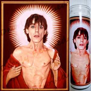 "St. Iggy Pop Prayer Candle, 8"" glass jar votive, Saint of Raw Power!"