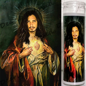 "Saint Chris Cornell Prayer Candle, 8"" glass jar votive, Saint of Black Days"