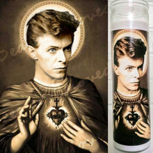 "Saint David Bowie  Prayer Candle, 8"" glass jar votive, Saint of the Sacred Space Oddity"