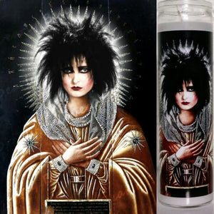 "Saint Gothess Siouxsie Sioux Devotional Candle, 8"" glass votive, Our lady of the Spellbound"