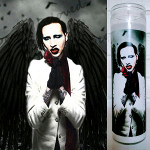 "St. Marilyn Manson, 8"" Votive glass jar Prayer Candle, The Archangel Marilyn Guardian of the Spooky"
