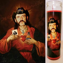 "St. Lemmy Kilmster Prayer Candle, 8"" glass jar votive, Saint of Spades"