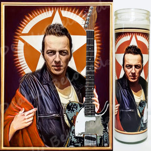 "St. Joe Strummer of the Clash, 8"" glass jar votive, Rebel Saint of Revolution Rock"