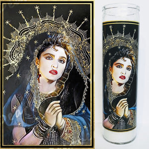 "St. Madge of the Virgins, 8"" glass jar votive candle, Mother of Pop"